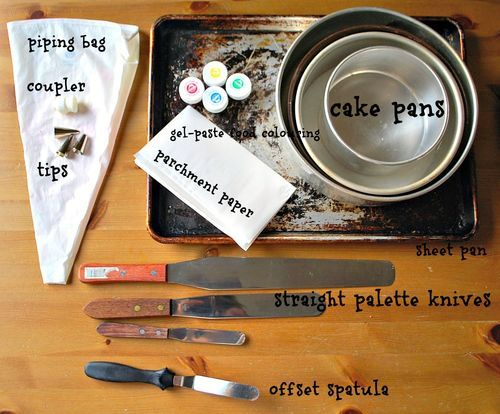 Helpful list of must-have cake making and decorating tools via Jan of Family Bites
