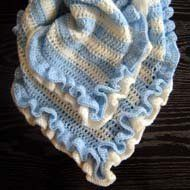 Make the Ruffled Baby Blanket for Beginners in any color, solid or striped - it is easy.