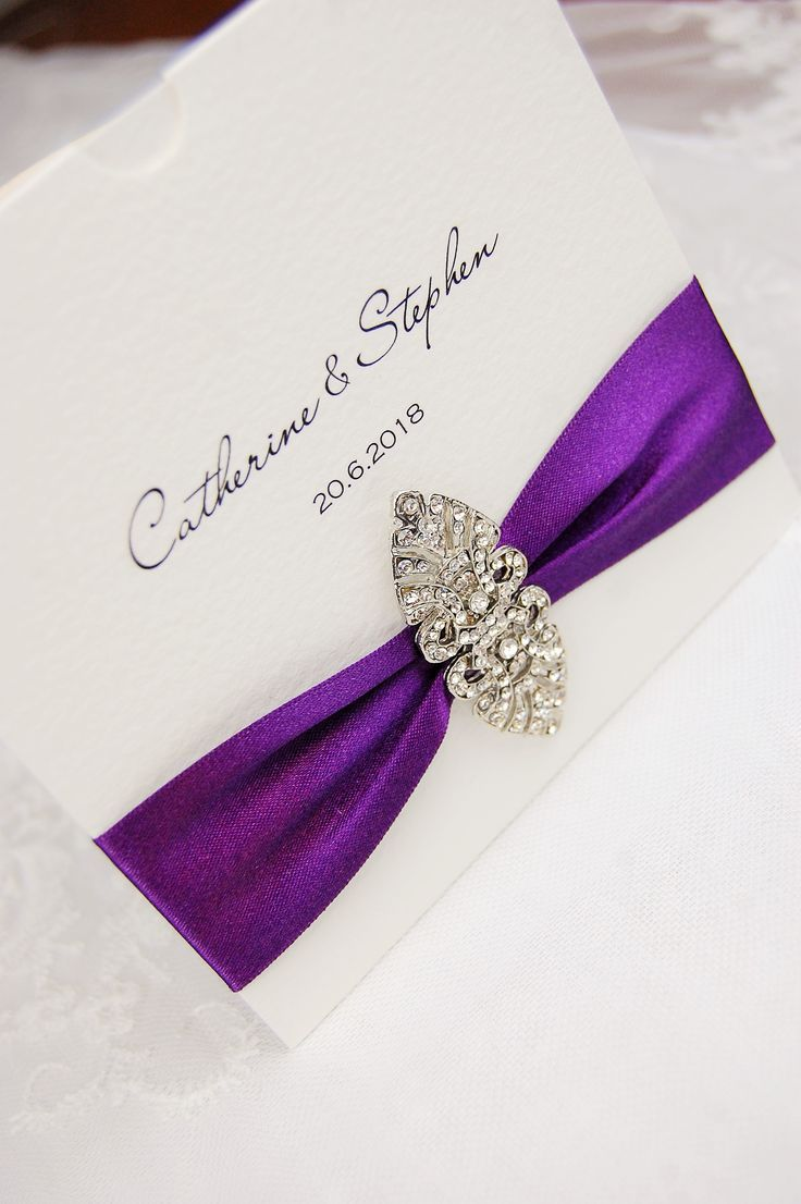 purple white silver wedding invitations%0A HipTwist Stationery Chaconne Collection  Luxury Wedding Invitations  Stationery Art Deco Brooch Silver Gold Ribbon Pocket