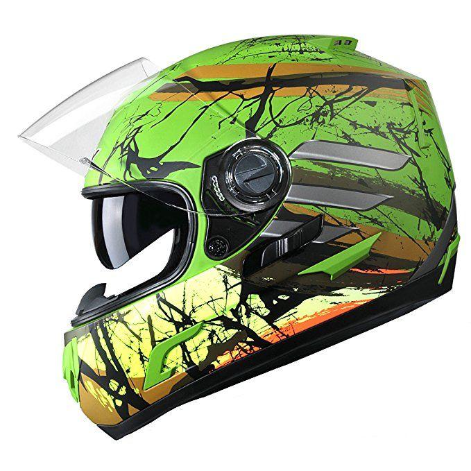 Glx Dual Visor Full Face Motorcycle Street Bike Helmet Gloss