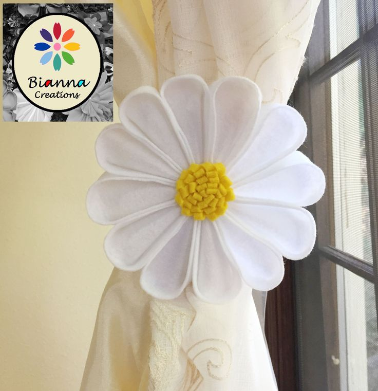 Kanzashi White and Yellow Felt Daisy Curtain Tieback, Floral Nursery Holdback Home Decoration, Flower Baby Shower Gift Decor Idea by BiannaCreations on Etsy