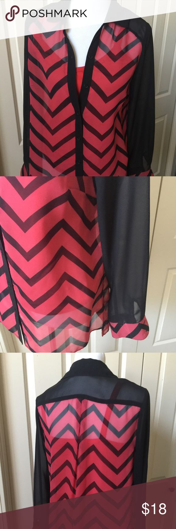 Red and Black Chevron Blouse and Cami Sheer button down Blouse with attached Cami I.N. Studio Tops Blouses