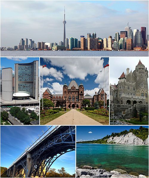 From top left: Downtown Toronto featuring the CN Tower and Financial District from the Toronto Islands, City Hall, the Ontario Legislative Building, Casa Loma, Prince Edward Viaduct, and the Scarborough Bluffs