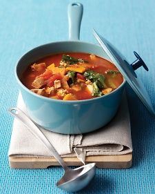 Every ladleful of this colorful soup brims with turkey, sweet potato, escarole, and tomato in a soothing broth.