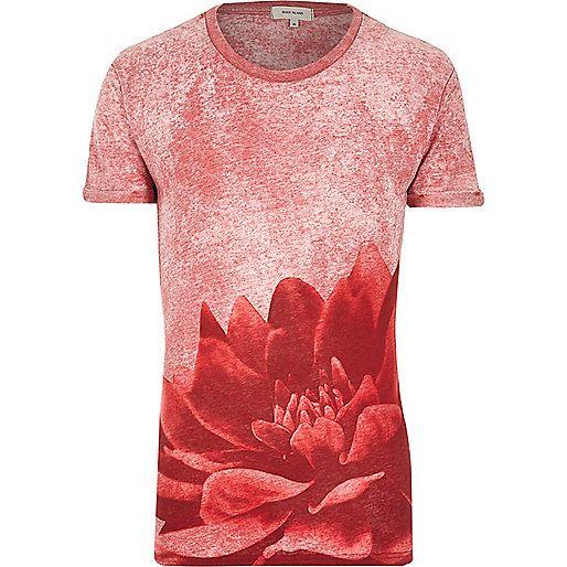 Red burnout flower print t-shirt - print t-shirts - t-shirts / vests - men
