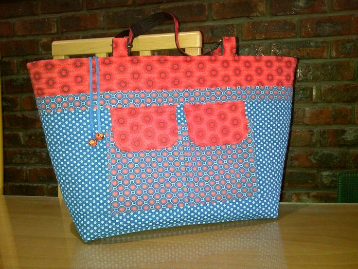 Handmade tote blue and red shweshwe with inset zipper
