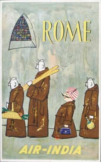 Rome, Air India, monks - vintage travel poster