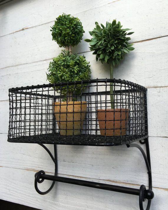 Jet Black Ebony Black Shabby Chic Wire Basket Lotion
