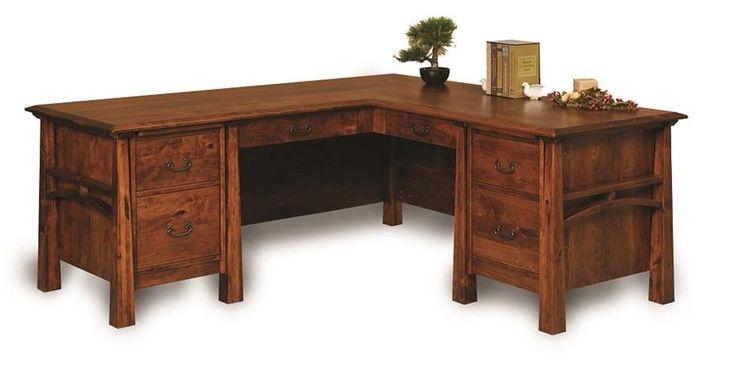 Amish Artesa Six Drawers L Desk with Finished Backside ...