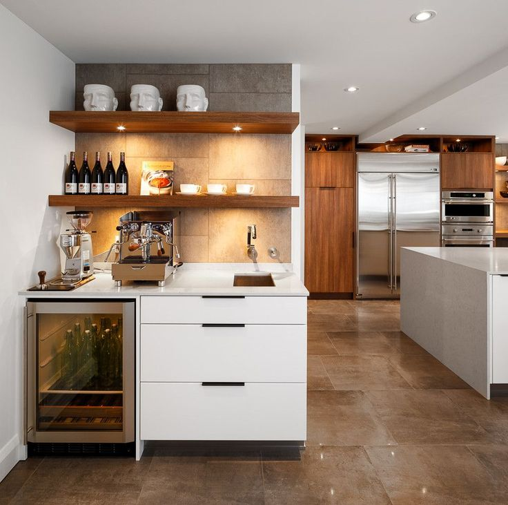 Innovative bodum coffee grinder in Kitchen Contemporary with Wine Bar Ideas next to Coffee Station alongside Modern White Kitchen and Wine Fridge Under Counter