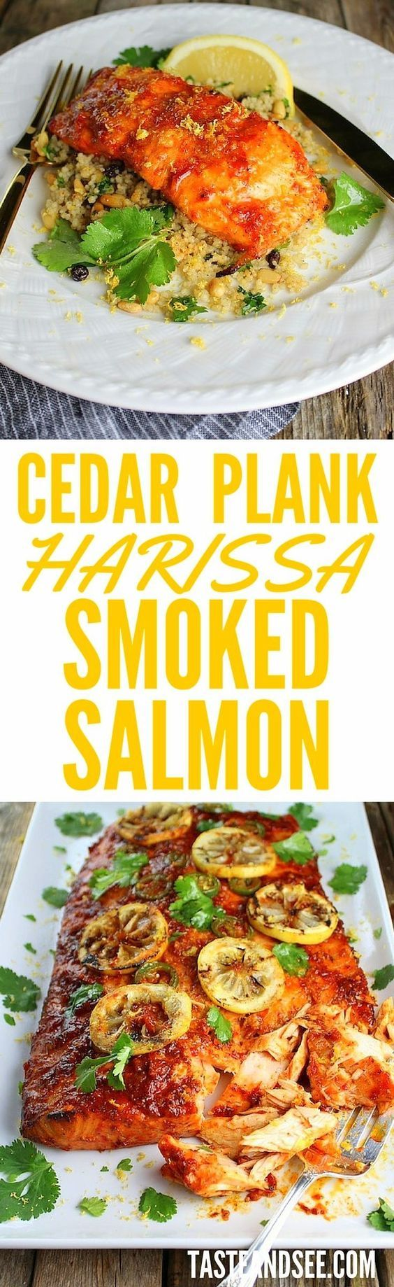 Cedar Plank Harissa Smoked Salmon marinated w/garlic, honey, lemon, harissa, & paprika, served with Moroccan couscous. Tender, flaky, & full of flavor!   #salmon http://tasteandsee.com