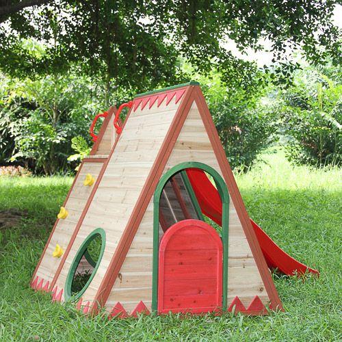 Houten speelhuis voor de tuin. Golvende glijbaan, speelgoedverrekijker en meer. Thermisch behandeld cederhout, niet chemisch.