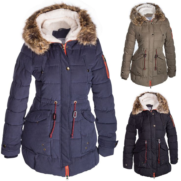 Damen Winterjacke Mantel Fell 2 in 1 Kapuze – Bild 1