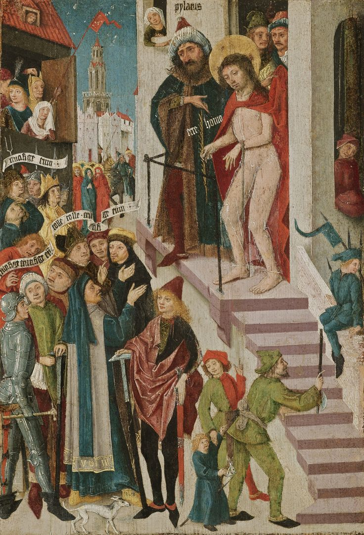 Upper Rhenish School, circa 1480 ECCE HOMO inscribed upper centre: pylatus, ecce homo; elsewhere on banderoles: crucifige eum; tolle tolle crucifige eum; crucifige eu; and on the border of the robe lower left: EVOT III  tempera on softwood panel, in an old carved and gilt wood tabernacle frame 49.4 by 34.2 cm.; 19 1/2  by 13 1/2  in.: