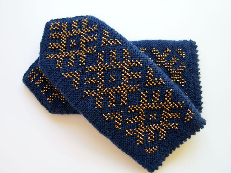 Blue wool mittens with gold beads