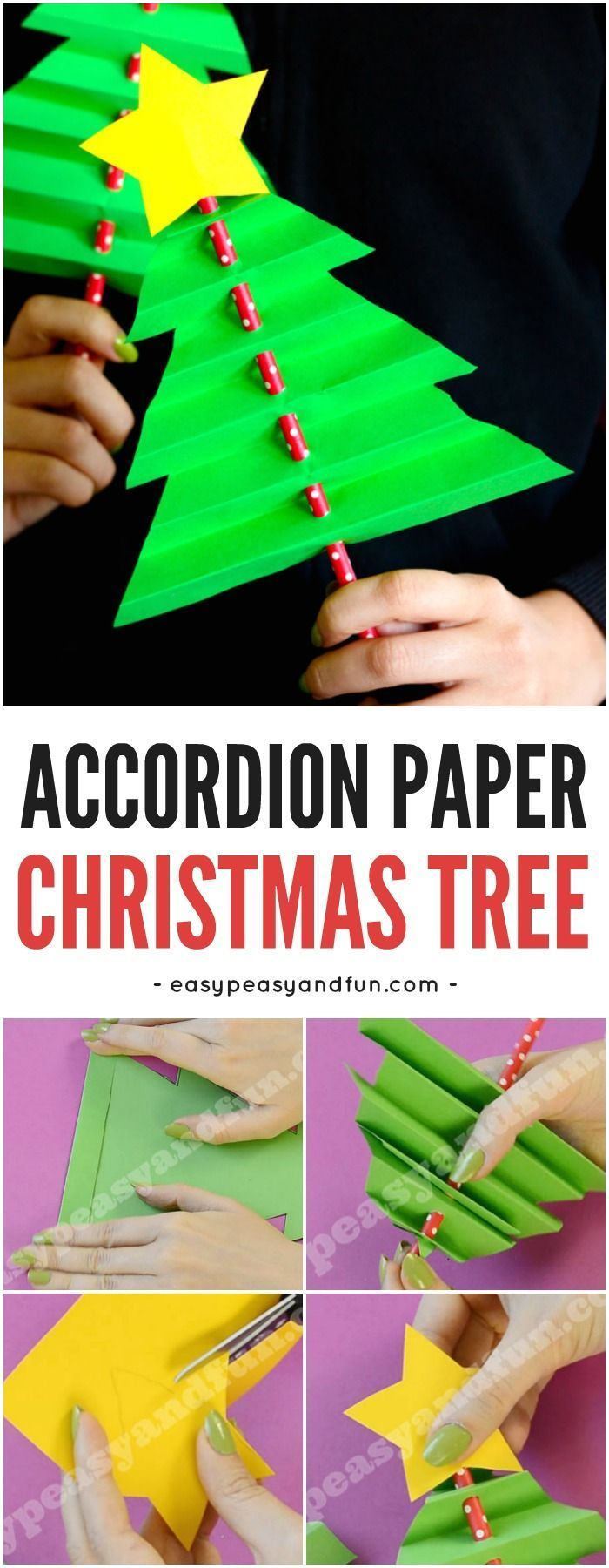 Accordion Paper Christmas Tree. Simple Christmas Craft for Kids with a Printable Template.