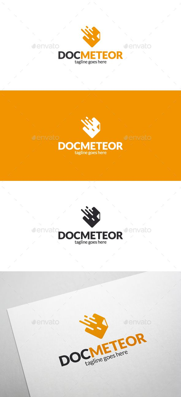 Doc Meteor Logo- 100 Resizable vector logo - 100 Editable text - Easily customizable colors - AI & EPS files - Link to font in h