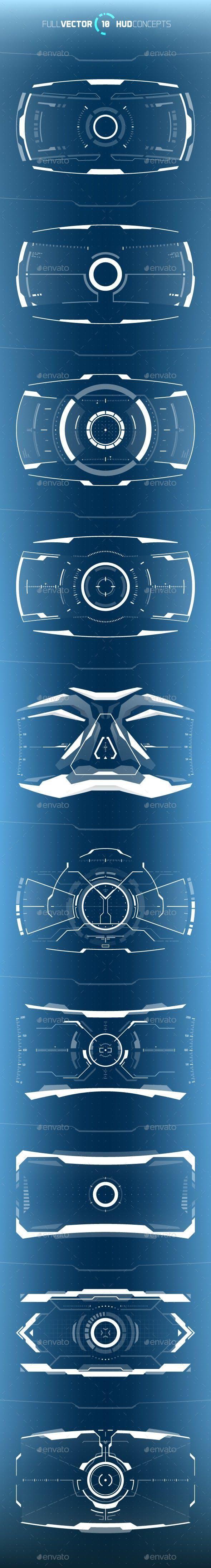 Conceptual 10 Hi-Tech HUD Set for $6 #ComputerIllustrations #TechnologyVectors #VectorDesign #vector