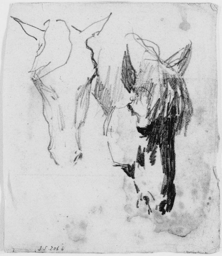 John Singer Sargent  American (Florence, Italy 1856 - 1925 London, England)  Two Studies of Horses  Drawing  American  ,  19th-20th century  Graphite on blue wove paper  actual: 10.3 x 8.9 cm (4 1/16 x 3 1/2 in.)