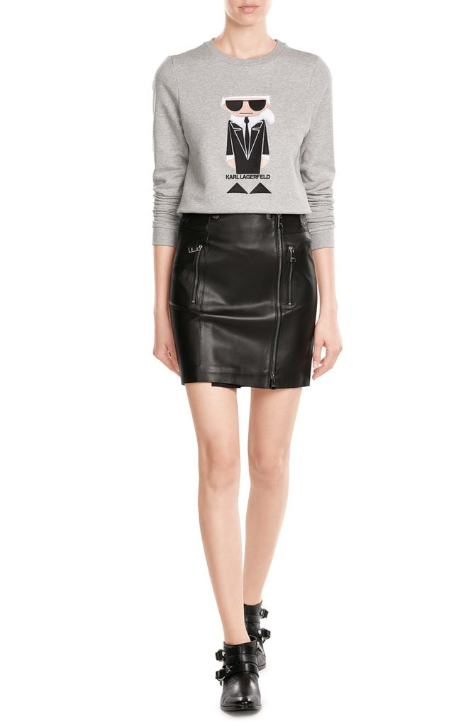 Favorite this fall is the leather mini skirt from Karl Lagerfeld Collection