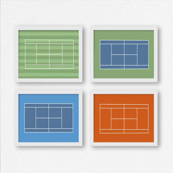 Tennis Court Prints: Wimbledon, French Open, US Open, and Australian Open Wall…