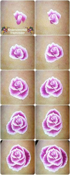 step by step painting a rose by Kinderschminken Traumzauber #kinderschminken, #facepainting, #rose, #stepbystep #stepbystepfacepainting