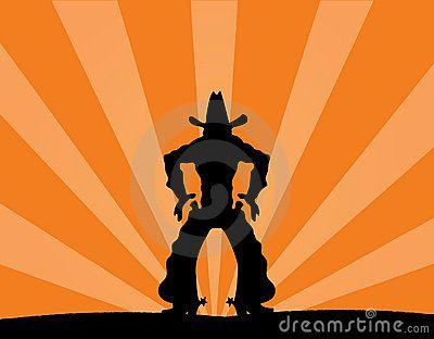 Illustration of cowboy against a sunset backgroundSunsets Backgrounds