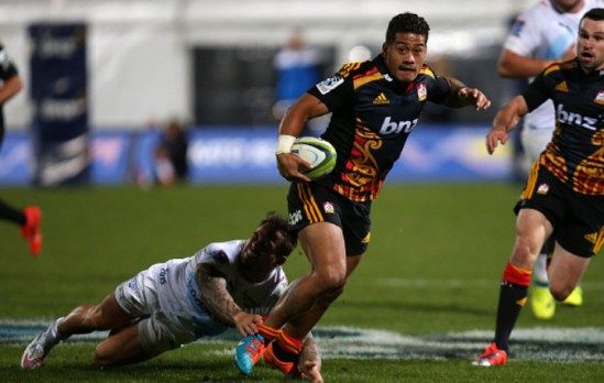 Augustine Pulu of the Chiefs runs with the ball during the round 15 Super Rugby match  the Chiefs overturned an early deficit to claim a significant 34-20 Super Rugby victory over the touring Bulls in Rotorua on Friday May 22, 2015
