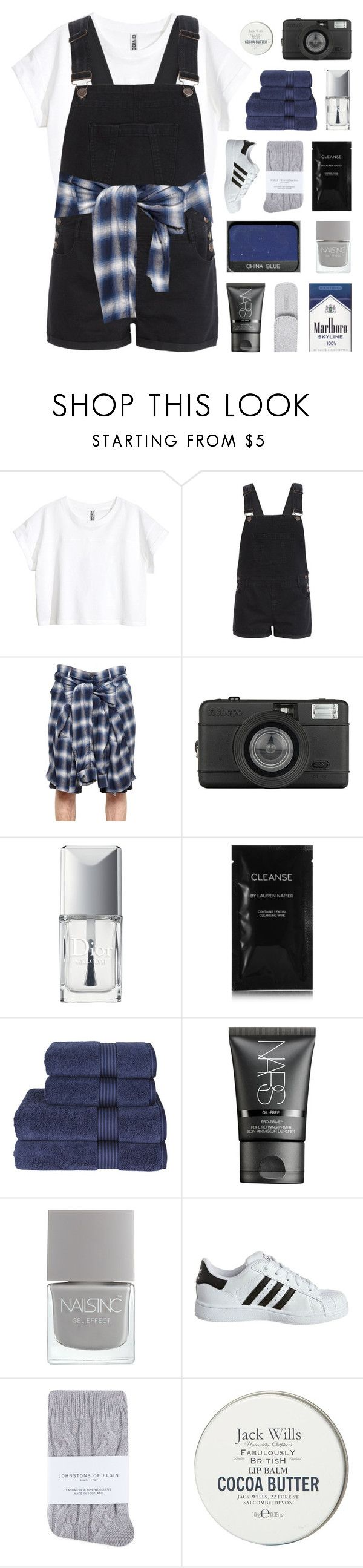 """""""STAY LOST // 12:18"""" by glazes ❤ liked on Polyvore featuring H&M, New Look, Maison Mihara Yasuhiro, Lomography, Christian Dior, Cleanse by Lauren Napier, Christy, NARS Cosmetics, Tweezerman and adidas Originals"""