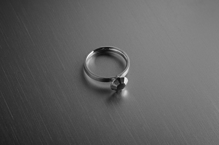925 recycled silver ring, diamond cut