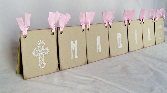 Christening Centerpiece, personalized first communion sign, vintage inspired christening decor, baptism centerpiece (up to 6 letters)