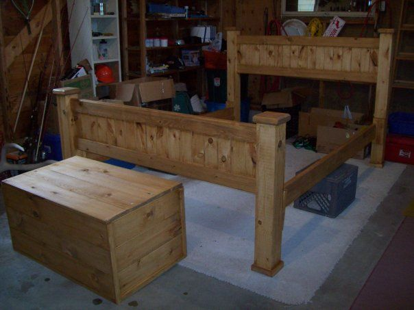 How to make a rustic pine bed frame from scrach bed Rustic bed frames