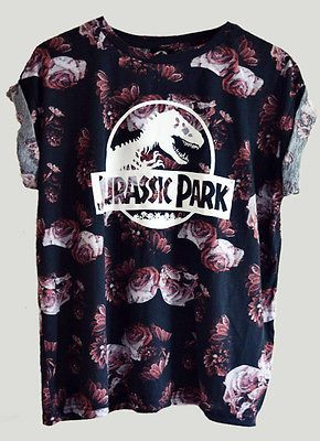 JURASSIC-PARK-Top-Tank-Crew-Neck-Shirt-Vintage-Retro-Movie-Floral-ROSES-T-Shirt