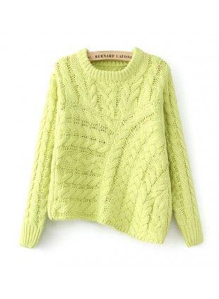 Asymmetrical Sweater US$36.99  Free shipping worldwide  #fashion #jumper #neon #instagram