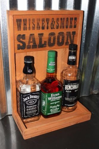 WHISKEY SMOKE SALOON Bar Back Liquor Display Mancave