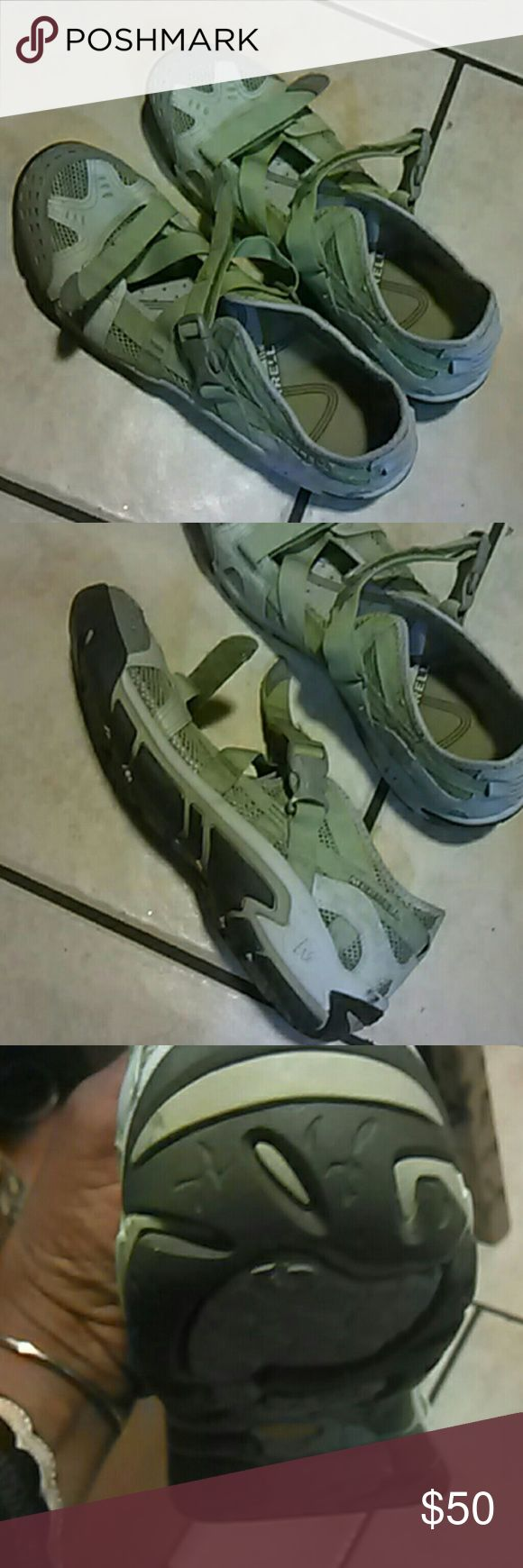 """MERRELL"" Shoe's Light green an grey, made out of canvas an mesh. With Velcro tie straps. Merrell Shoes Flats & Loafers"