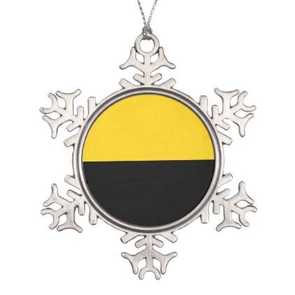 Flag of Saxony-Anhalt Snowflake Pewter Christmas Ornament - stripes gifts cyo unique style