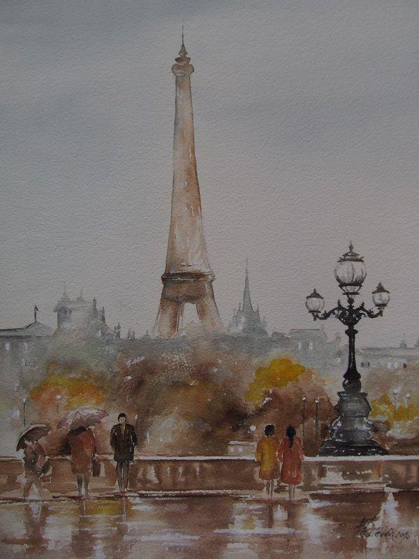 Paryż. Na podstawie akwareli D. Djukarica. W. Podlecka