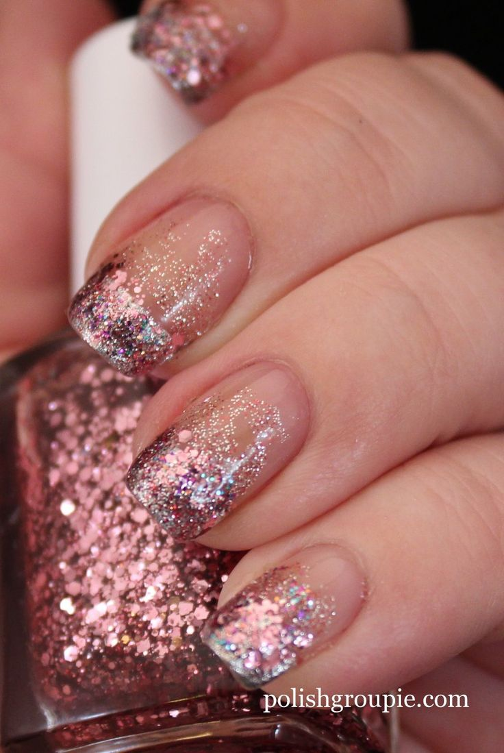 Glitter Nail Trends: Pink Glitter Gradient Nail Art With Essie Luxeffects A Cut