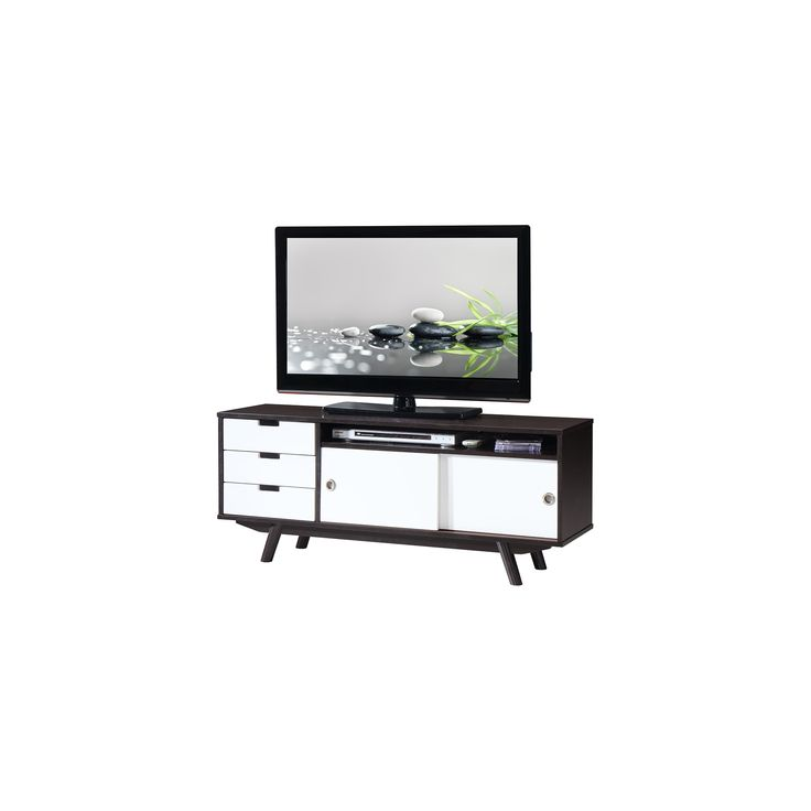 modern wood veneer 55 tv stand with sliding doors wenge techni mobili dark