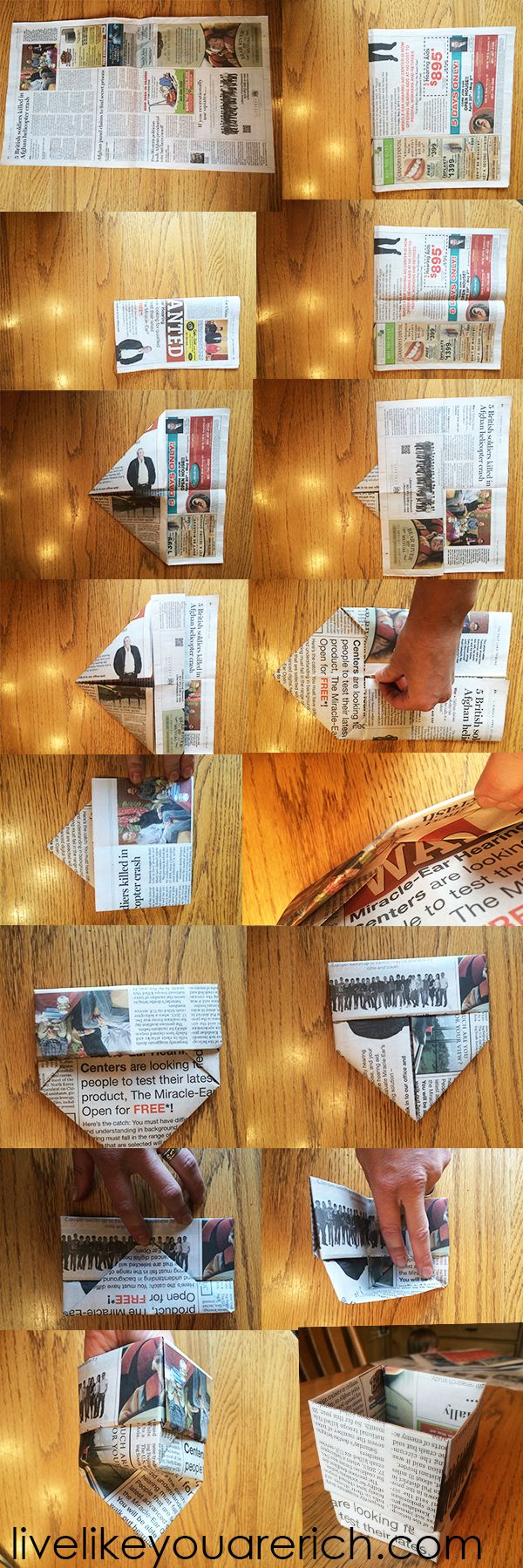 fold a seed starter cup out of newspaper