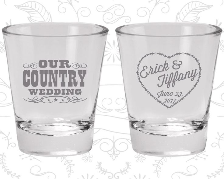 Our Country Wedding, Imprinted Glassware, Country Rustic Shot Glasses, Rustic Wedding Shot Glasses, Barbwire, Custom Shot Glasses (84)