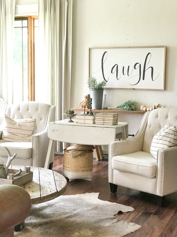 Farmhouse Living Room Full Of Rustic Accents, Blue Striped Pillows, And  Large Farmhouse Signs Pictures Gallery