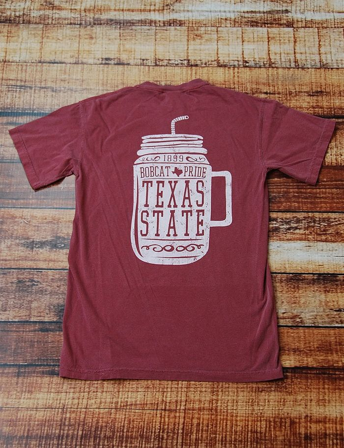 Show your Texas State Bobcat Pride in this awesome Comfort Colors mason jar t-shirt!