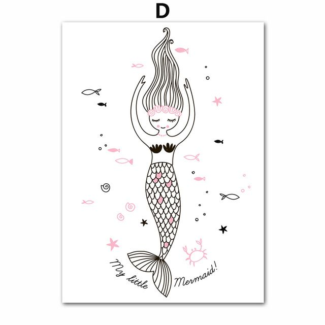 7 Space Girls Mermaid Unicorn Nordic Decoration Cartoon Canvas Painting Wall Art Print Poster Kids Room Girls Canvas Pictures -in Painting & Calligraphy from Home & Garden on Aliexpress.com   Alibaba Group