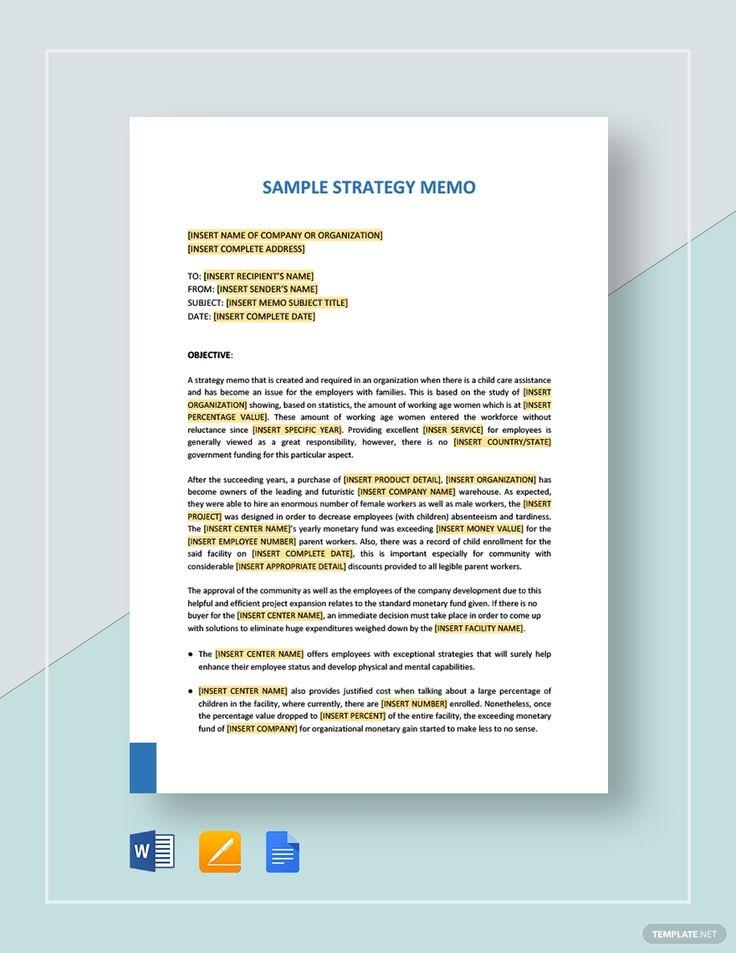 Sample Strategy Memo Template in 2020 Memo template