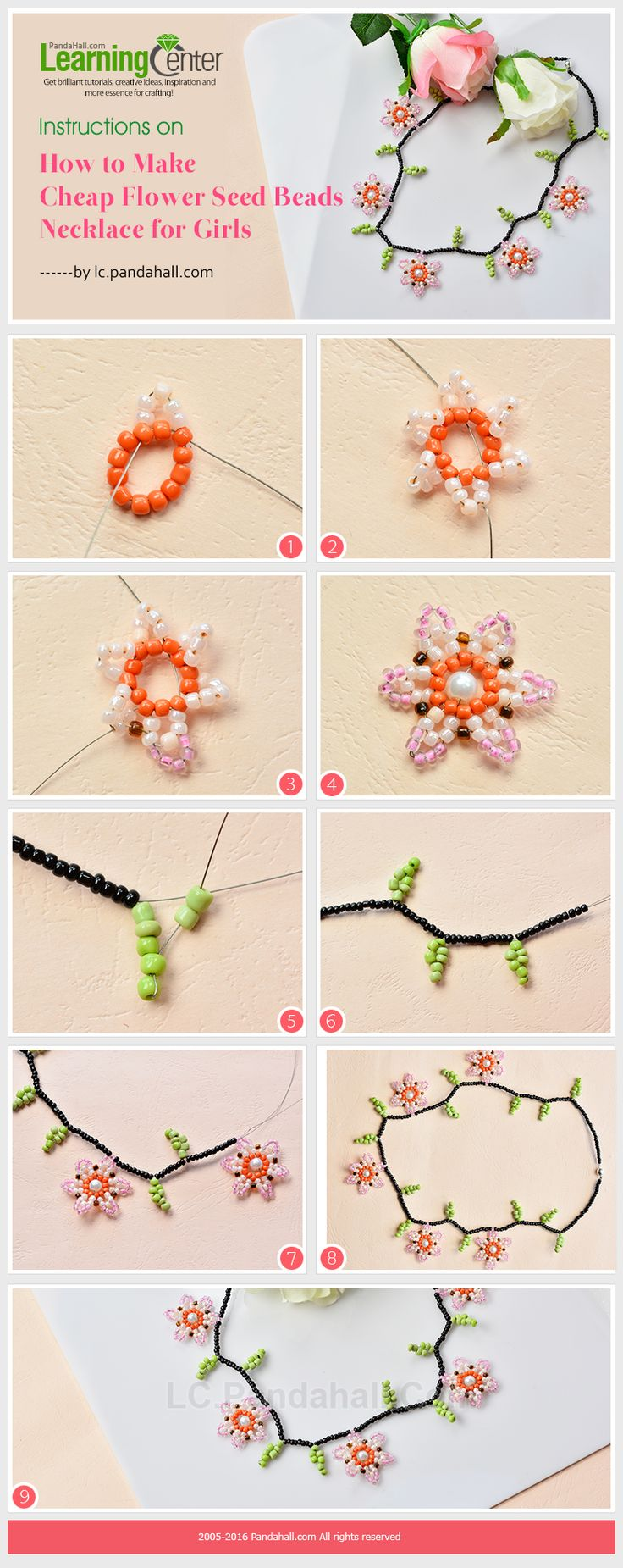 Instructions on How to Make Cheap Flower Seed Beads Necklace for Girls from LC.Pandahall.com