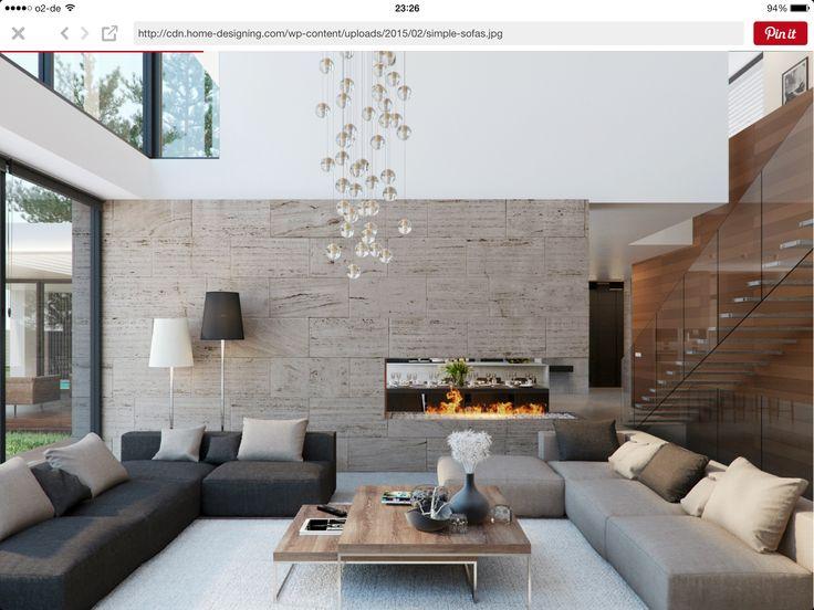 17 mejores ideas sobre chimeneas contempor neas en - Salon doble altura ...