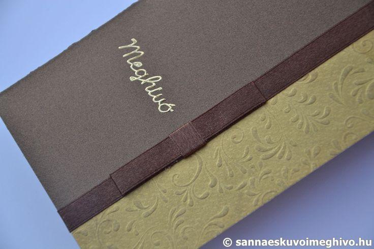 Arany csokoládé esküvői meghívó, meghívó, arany esküvői meghívó, barna esküvői meghívó, szalagos esküvői meghívó, sannaeskuvoimeghivo, egyedi esküvői meghívó, wedding card