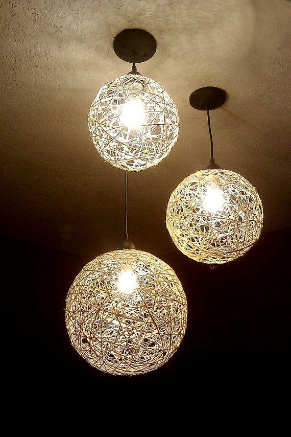 Chandelier Hanging Lighting Home Lighting Hemp By Krystopolis 40 00